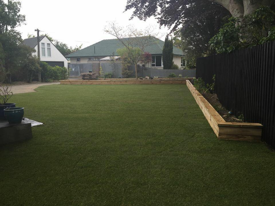 Ready lawn and raised planter combo for a very happy client