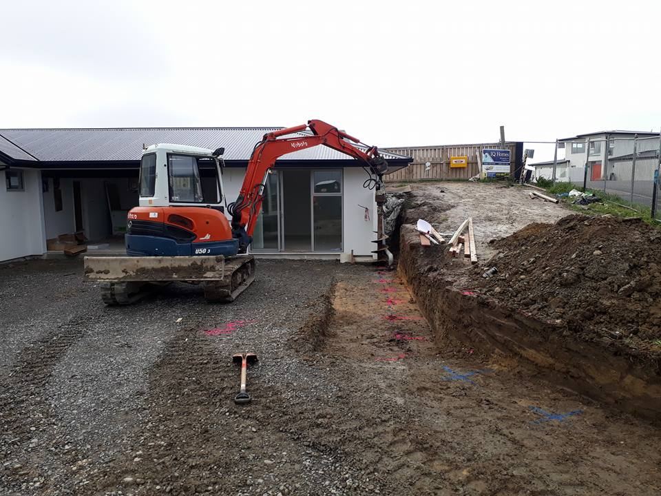 Start of new retaining wall in Westmelton, Christchurch